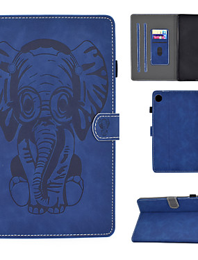 cheap Other Phone Case-Case For Lenovo M10 Plus TB-X606F Card Holder  Shockproof  Flip Full Body Cases Animal PU Leather  TPU elephant pattern