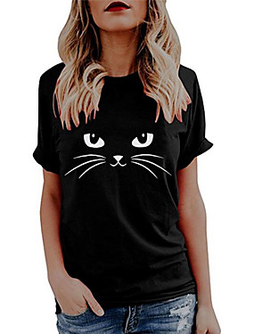 billiga Damkläder-Dam T-shirt Katt Grafisk Fjäril Tryck Rund hals Blast 100 % bomull Grundläggande Grundläggande topp Vit Svart Blå