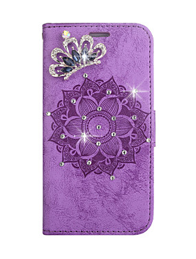 cheap Huawei Case-Case For Huawei p8lite p9lite honor8 y5 y6 p8lite p10lite p20lite enjoy7 enjoy7s Card Holder Rhinestone Magnetic Full Body Cases Solid Colored Flower PU Leather TPU
