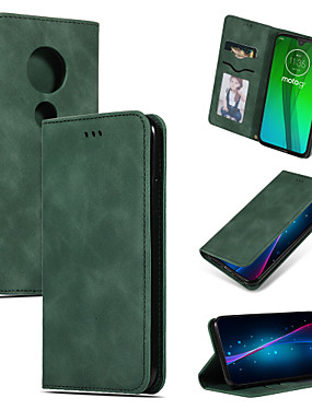 cheap Other Phone Case-Case For MOTO G7 G7 Plus G7 Play G7 Power Card Holder Flip Full Body Cases Solid Colored PU Leather TPU