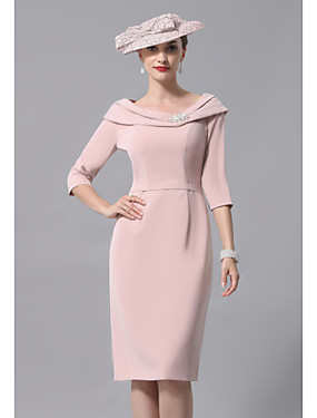 cheap New Arrivals-Sheath / Column Mother of the Bride Dress Elegant Vintage Plus Size Scoop Neck Knee Length Jersey 3/4 Length Sleeve with Beading Crystal Brooch 2020 Mother of the groom dresses