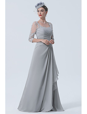 cheap New Arrivals-Sheath / Column Mother of the Bride Dress Elegant Square Neck Floor Length Chiffon Lace Half Sleeve with Ruching 2020