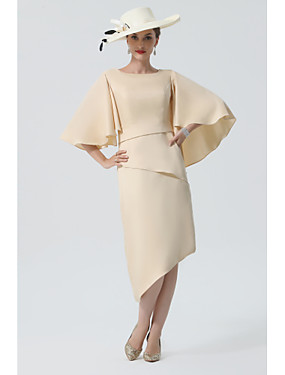 cheap New Arrivals-Sheath / Column Mother of the Bride Dress Elegant Jewel Neck Knee Length Charmeuse Half Sleeve with Tier 2020 Mother of the groom dresses