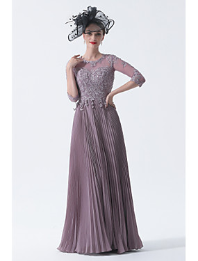 cheap New Arrivals-A-Line Mother of the Bride Dress Elegant Plus Size See Through Bateau Neck Sweep / Brush Train Chiffon Lace Half Sleeve with Sash / Ribbon Appliques 2020 Mother of the groom dresses