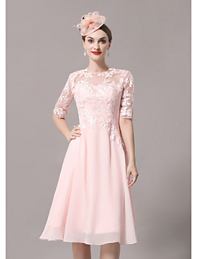 cheap New Arrivals-A-Line Mother of the Bride Dress Elegant Illusion Neck Knee Length Lace Satin Half Sleeve with Pleats Appliques 2020