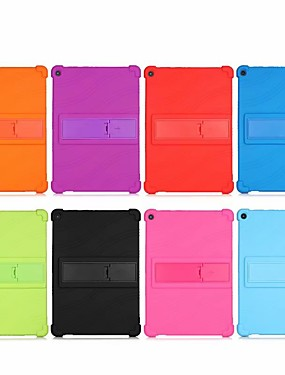 cheap Other Phone Case-Case For Lenovo Tab M10(TB-X605F) P10(TB-X705FL)  E10 TB-X104F TAB4 10 Plus(TB-X704FN) M8FHD(TB-8705FN) E8(TB-8304F) Tab 3 8 Plus (TB-8703F) Shockproof with Stand Back Cover Solid Colored Silicone