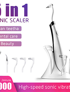 cheap Body Massager-5 In 1 Electric Ultrasonic Sonic Cute Dental Scaler Tooth Calculus Remover Cleaner Stains Tartar Tool Whiten Teeth Tartar Remove