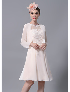 cheap New Arrivals-A-Line Mother of the Bride Dress Wrap Included Jewel Neck Knee Length Chiffon Lace Long Sleeve with Appliques Ruching 2020 Mother of the groom dresses