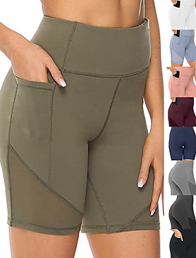 cheap Sports & Outdoors-Women's High Waist Running Tight Shorts Athletic Leggings Bottoms with Phone Pocket Mesh Spandex Yoga Fitness Gym Workout Performance Running Active Training Tummy Control Butt Lift Breathable Sport