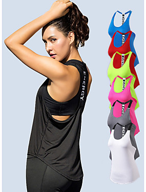 Χαμηλού Κόστους Sport & Outdoor-YUERLIAN Γυναικεία Maieu de Alegat T Πίσω Λευκό Μαύρο Κόκκινο Φούξια Μπλε Δίχτυ Spandex Γιόγκα Fitness Γυμναστήριο προπόνηση Γιλέκο Αθλητισμός Ρούχα Γυμναστικής Ελαφρύ 4 Way Stretch / Αναπνέει