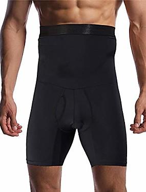 cheap Men's Underwear & Socks-men's tummy control shapewear shorts high waist slimming anti-curling underwear body shaper seamless boxer brief black