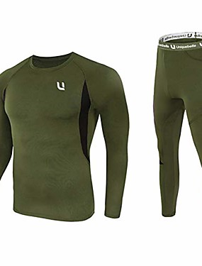 cheap Men's Underwear & Socks-men's thermal underwear sets top & long johns fleece sweat quick drying thermo (sets army green, xl)