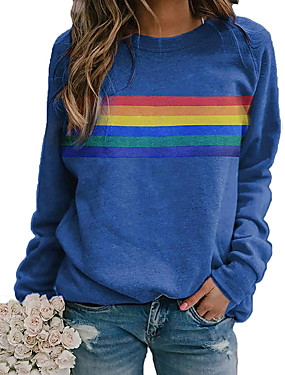 cheap Women's Clothing-Women's T shirt Graphic Rainbow Long Sleeve Round Neck Tops Basic Casual Basic Top Blue Red Khaki