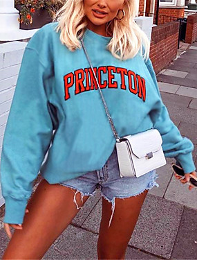 cheap Women's Clothing-Women's Pullover Sweatshirt Graphic Text Graphic Prints Daily Basic Casual Hoodies Sweatshirts  Cotton Loose Blue / Letter
