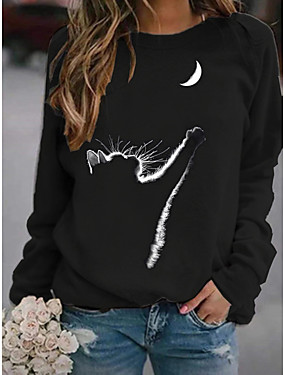 cheap Women's Clothing-Women's Pullover Sweatshirt Cat Graphic Daily Basic Hoodies Sweatshirts  Black