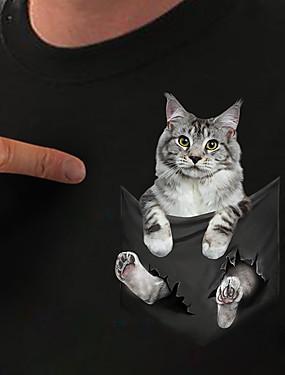 billiga Damkläder-Dam T-shirt Katt 3D Grafiska tryck Tryck Rund hals Blast Grundläggande Grundläggande topp Vit Svart