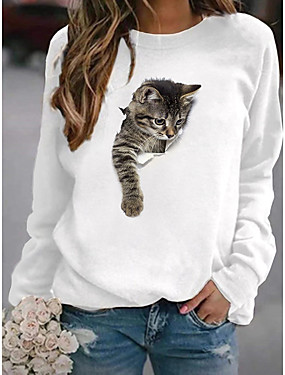 cheap Women's Clothing-Women's Pullover Sweatshirt Cat Graphic 3D Cartoon Casual Daily Other Prints Basic Hoodies Sweatshirts  White Yellow Blushing Pink