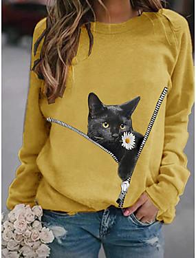 cheap Women's Clothing-Women's Pullover Sweatshirt Cat Graphic 3D Daily Basic Casual Hoodies Sweatshirts  White Black Yellow