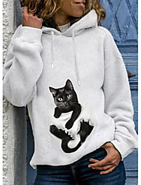 cheap Women's Clothing-Women's Pullover Hoodie Sweatshirt Cat Graphic 3D Daily Basic Casual Hoodies Sweatshirts  White