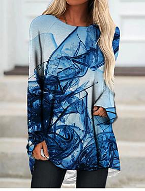 cheap Women's Clothing-Women's T Shirt Dress Tee Dress Short Mini Dress Long Sleeve Color Gradient Color Block Geometric Print Fall Spring 3D Print Casual 3D Print Blue S M L XL XXL 3XL