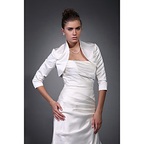 cheap Wedding Wraps-Coats / Jackets Satin Wedding / Party Evening Wedding  Wraps / Bolero With Draping / Solid