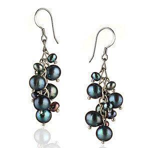 cheap Earrings-Women's Black Pearl Drop Earrings Sterling Silver Silver Earrings Jewelry For 1pc