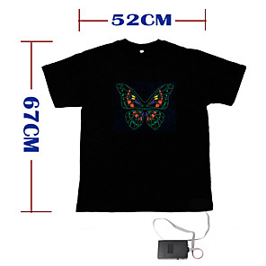 cheap Men's & Women's Halloween Costumes-Sound and Music Activated EL Visualizer VU-Spectrum Dancer T-shirt - M (2*AAA)