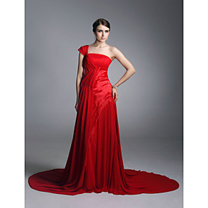 cheap Latin Dancewear-Sheath / Column All Celebrity Styles Inspired by Emmy Formal Evening Dress One Shoulder Short Sleeve Court Train Chiffon Matte Satin with Draping 2020
