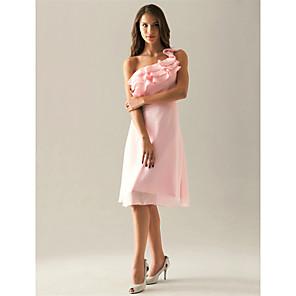 cheap Lolita Dresses-Sheath / Column One Shoulder Knee Length Chiffon Bridesmaid Dress with Side Draping