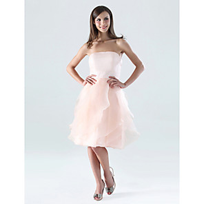 cheap Cell Phone Cables-A-Line Strapless Knee Length Organza / Satin Bridesmaid Dress with Ruffles / Cascading Ruffles / Open Back
