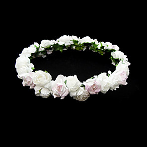cheap Party Headpieces-Lovely Paper Flower Wedding Flower Girl Wreath