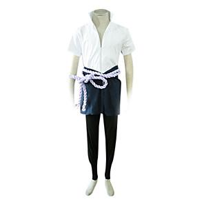 cheap Anime Costumes-Inspired by Naruto Sasuke Uchiha Anime Cosplay Costumes Japanese Cosplay Suits Patchwork Short Sleeve Coat Pants Sleeves For Men's Women's / Waist Accessory / Belt / Waist Accessory / Belt