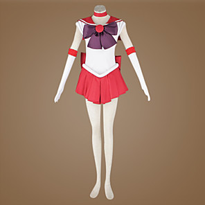cheap Anime Costumes-Inspired by Sailor Moon Sailor Mars Anime Cosplay Costumes Japanese Cosplay Suits Patchwork Sleeveless Cravat Dress Headpiece For Women's / Gloves / Ribbon / Gloves / Satin / Ribbon