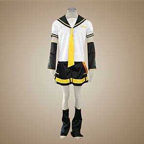 cheap Anime Costumes-Inspired by Vocaloid Kagamine Len Video Game Cosplay Costumes Cosplay Suits Patchwork Short Sleeve Top Sleeves Belt Costumes / Satin