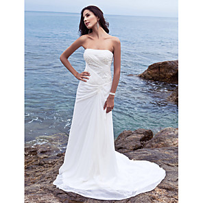 cheap Music Boxes-Sheath / Column Wedding Dresses Strapless Court Train Chiffon Strapless Beach Plus Size with Side-Draped 2020