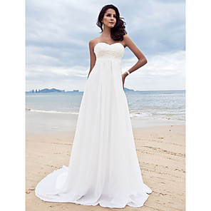 cheap Evening Dresses-A-Line Wedding Dresses Sweetheart Neckline Court Train Chiffon Strapless Simple Beach Plus Size with Beading Appliques 2020