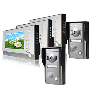 cheap Video Door Phone Systems-Three 7 Inch Monitor  Color Video Door Phone System  (2Alloy Weatherproof Cover Camera)