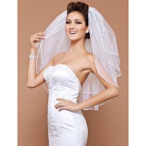 cheap Wedding Veils-Three-tier Pencil Edge / Pearl Trim Edge Wedding Veil Elbow Veils with Beading 31.5 in (80cm) Tulle A-line, Ball Gown, Princess, Sheath / Column, Trumpet / Mermaid / Classic