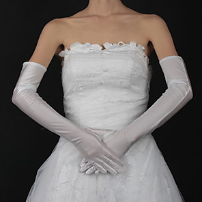 cheap Party Gloves-Cotton / Satin Wrist Length / Opera Length Glove Charm / Stylish / Bridal Gloves With Embroidery / Solid
