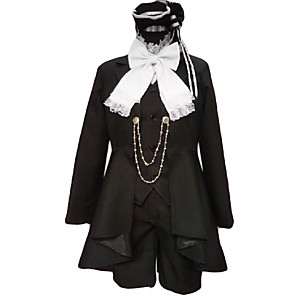 cheap Anime Costumes-Inspired by Black Butler Ciel Phantomhive Anime Cosplay Costumes Japanese Cosplay Suits Patchwork Long Sleeve Cravat Coat Vest For Men's / Shirt / Shorts / Shirt / Shorts