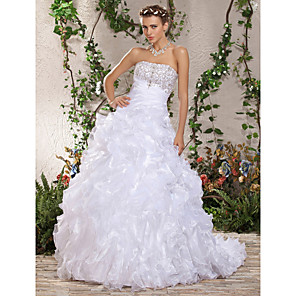 cheap Party Sashes-Ball Gown Wedding Dresses Strapless Court Train Organza Sleeveless with 2020