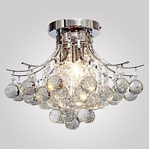 "cheap LED Strip Lights-1-Light 40(16"") Crystal / Mini Style Flush Mount Lights Metal Chrome Modern Contemporary 110-120V / 220-240V / E12 / E14"