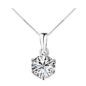 cheap Necklaces-Women's Diamond Cubic Zirconia Pendant Necklace Solitaire Simulated Fashion Zircon Cubic Zirconia Alloy Silver Necklace Jewelry For Daily