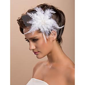 povoljno Party pokrivala za glavu-prekrasna vjenčanje tila pero svadbeni cvijet / gornji dio ženske odjeće / headpiece