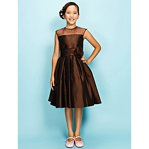 cheap Wedding Party Dresses-A-Line / Princess Jewel Neck Knee Length Organza / Taffeta Junior Bridesmaid Dress with Draping / Ruched / Flower