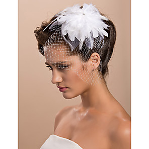 cheap Latin Dancewear-Cut Edge Tulle Blusher Veils / Hats / Birdcage Veils with Feather 1pc Engagement Party Headpiece