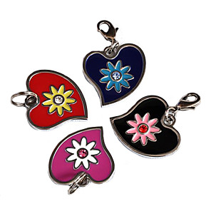 cheap Dog Collars, Harnesses & Leashes-Flowery Heart Style Dog ID Name Tag (Assorted Colors)