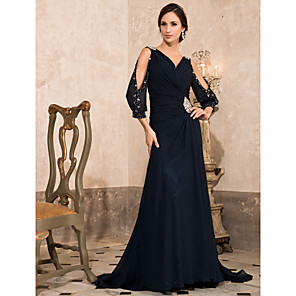 cheap Evening Dresses-A-Line Empire Blue Formal Evening Dress V Neck 3/4 Length Sleeve Sweep / Brush Train Chiffon with Crystals 2020