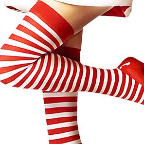 economico Costumi da Babbo Natale & Costumi di Natale-Calze e autoreggenti Per donna Natale Halloween Capodanno Feste / vacanze Cotone Rosso e Bianco Costumi carnevale