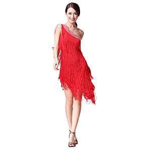 cheap Latin Dancewear-Latin Dance Dress Tassel Crystals / Rhinestones Women's Performance Sleeveless Natural Cotton Polyester